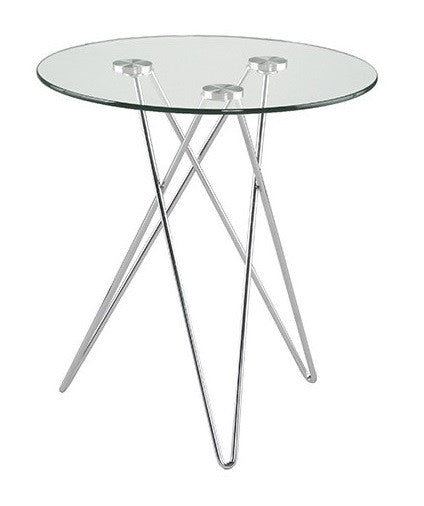 Eurostyle Zoey End Table with a Glass Top and Chrome Legs