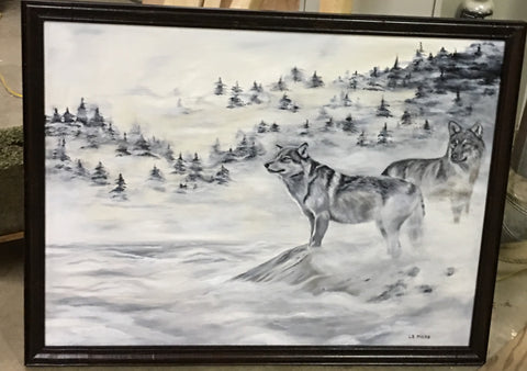 Two Wolves, original oil painting