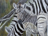 Zebras, original oil painting