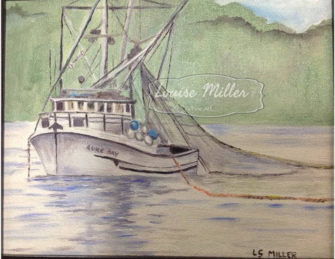 Auke Bay Seiner, original oil painting, framed