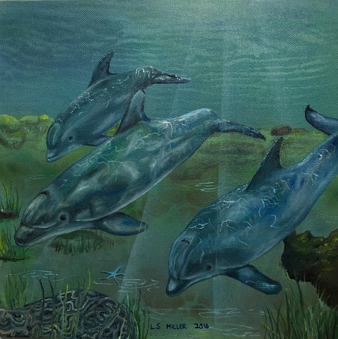 Dolphins original oil painting