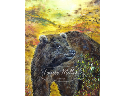 Bearly Winter, original oil painting