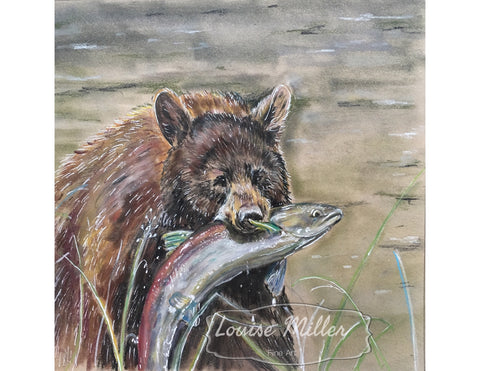 Brown Bear Snack, Original Pastel