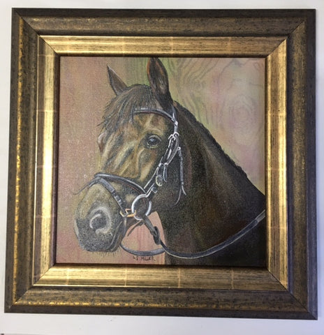 Happy Horse, framed original oil painting
