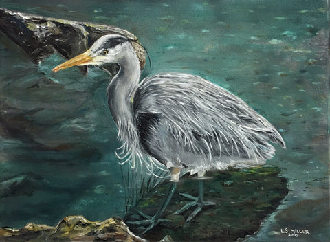 Juneau Heron oil painting