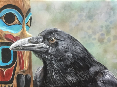 Raven and Totem original oil painting SOLD