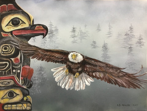 Eagle and Totem original acrylics painting