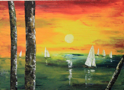 Sailboat Sunset   original oil painting