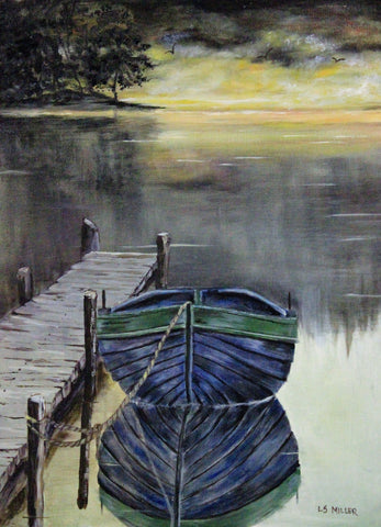 Skiff   original oil painting