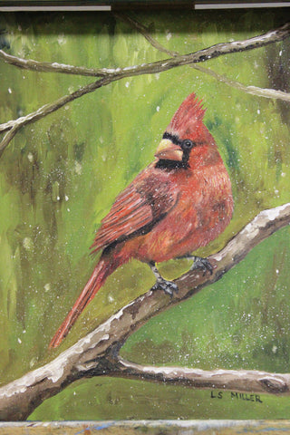 Cardinal Red, framed original oil painting, SOLD