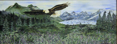Mendenhall Eagle. original oil painting on board