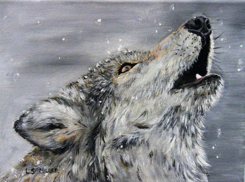Wolf Howl   original acrylic painting (sold)