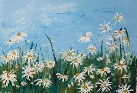 Field of Daisies, original oil painting