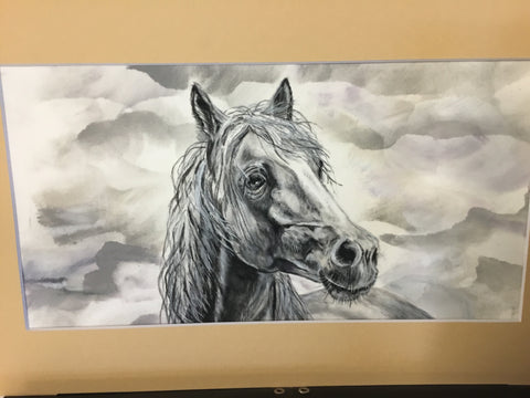 Horse original pencil matted $40