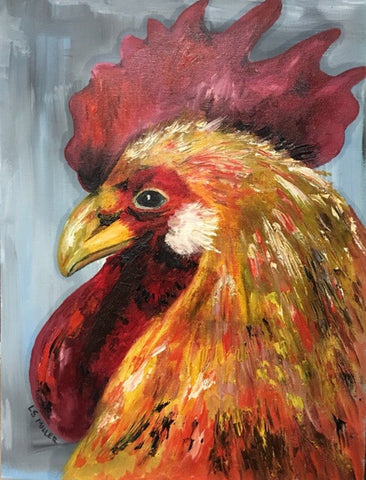 Rooster, original oil on canvas board SOLD