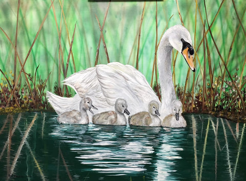 Swans original oil painting