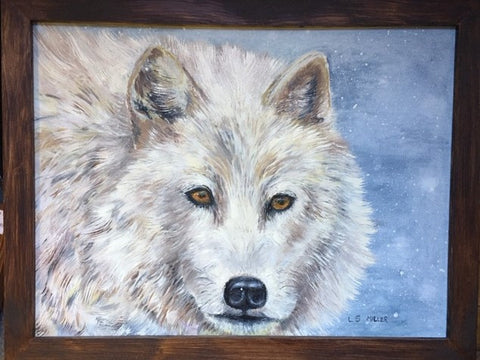 White Wolf, oil on canvas panel, framed
