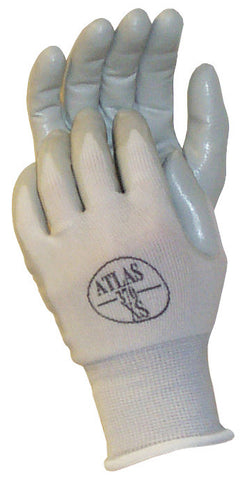 ATLAS 370 White Nylon Knit Nitrile Palm Glove