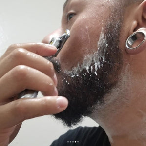 Dave is shaving his beard line using MSC Shaving Soap