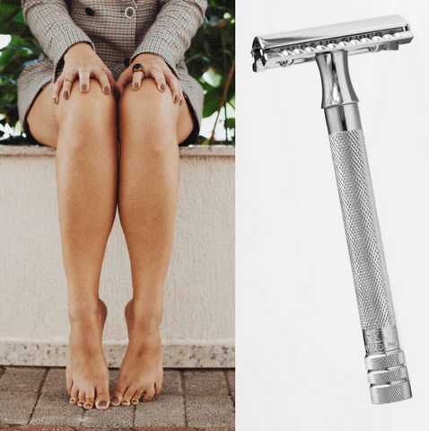 Women shave with safety razor