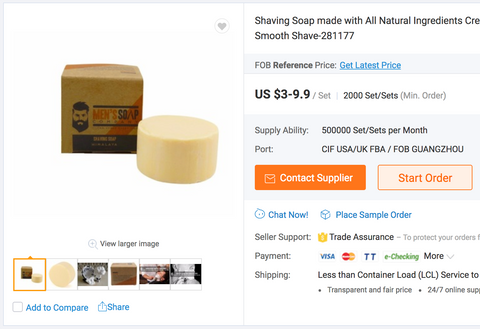 Men's Soap Company counterfeits sold on Alibaba