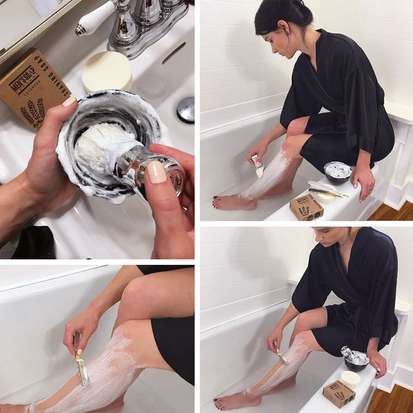 Shaving legs with traditional (straight) razor, shaving soap and brush.