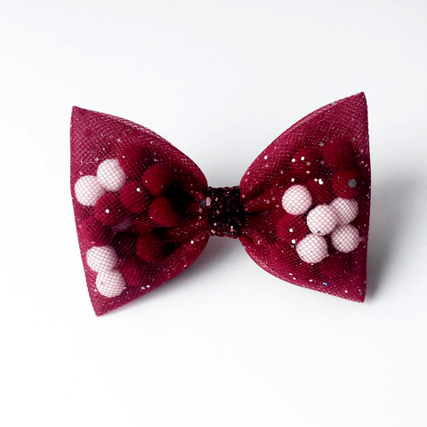 Burgundy Back To School Pominnie Bow