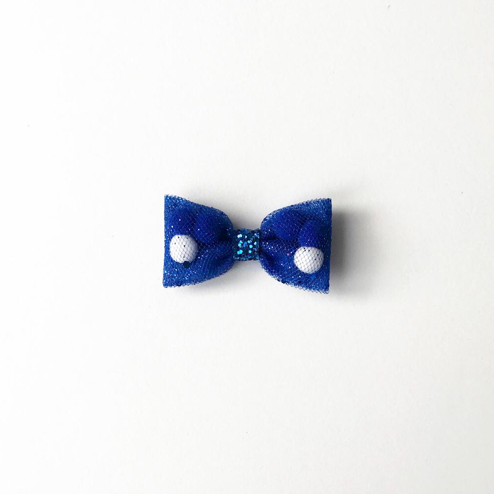 Mini Blue Back To School Pominnie Bow