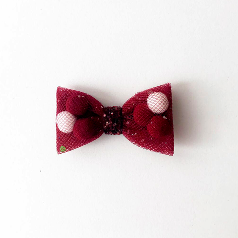 Mini Burgundy Back To School Pominnie Bow