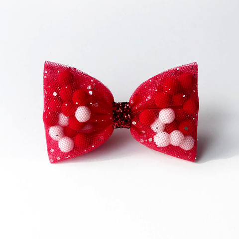 Red Back To School Pominnie Bow
