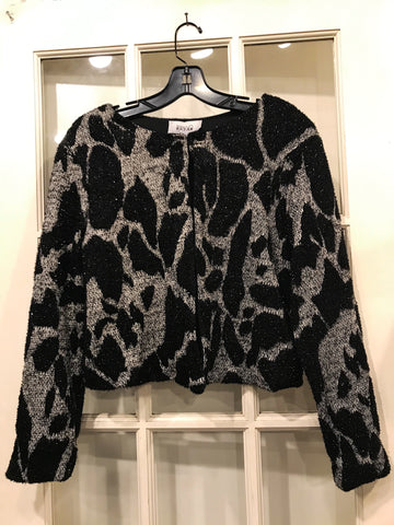 Holiday Jet Black and Grey Sweater Top