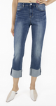 Tractr High Rise Slim Straight Crop Jeans