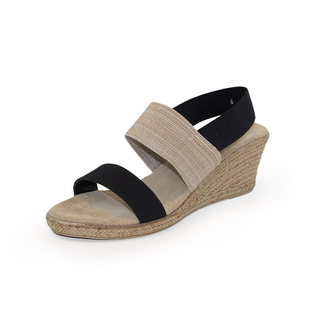 Charleston Shoe Co. COOPER Sandal in Black & Linen