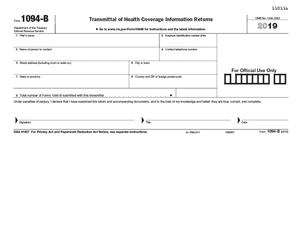 1094B-T ACA Transmittal of Health Coverage - Laser