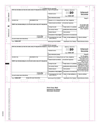 1099 Interest Tax Form - Pressure Seal - Copy B
