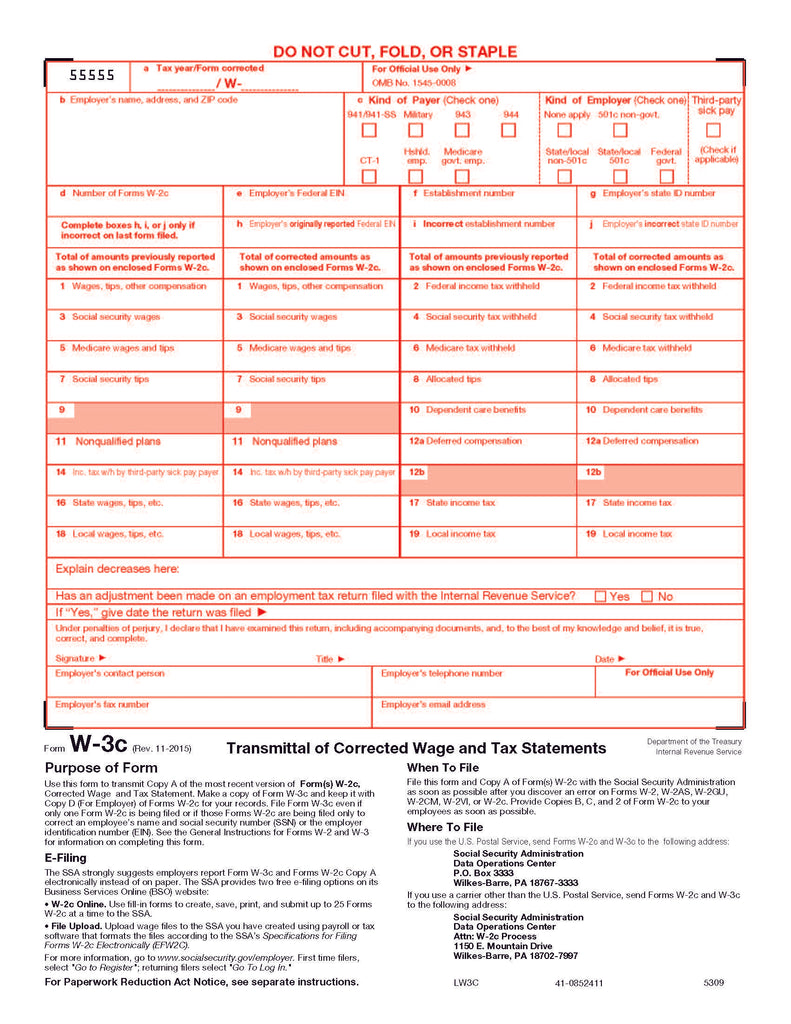 W-3C Transmittal for W-2C Corrected Income And Tax Statement