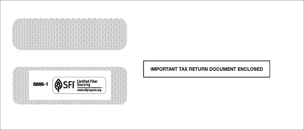 Double Window Envelope for 3-Up 1099's with Stub (8888-1)