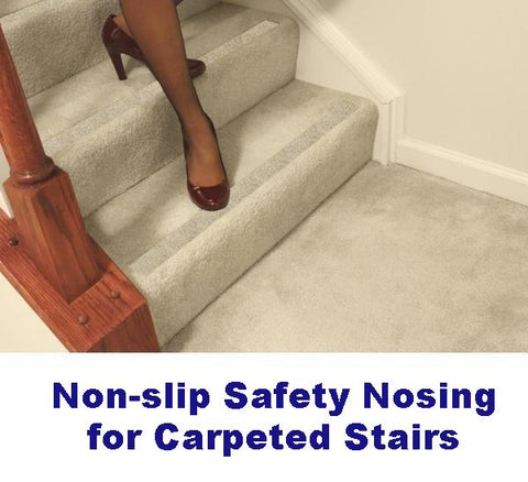 No-slip Strips, Carpeted Stairs - GRIPKims non-slip carpet for slippery stairs, anti slip solution to fix slipping with add-on grip, prevent falling on slick carpet.