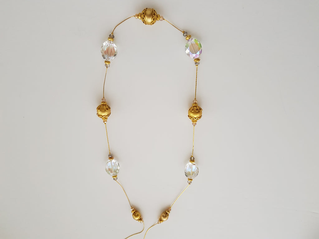 Gold Coloured Balls and Gass Crytal Necklace