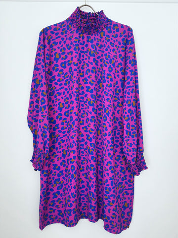 Animal Print Ruffle Neck Dress