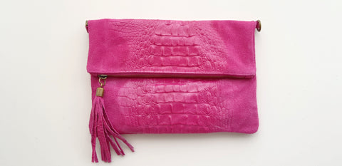 Soft  Distressed Suede Leather Croc Flap-Over Clutch Bag