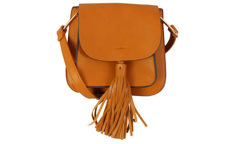 Flap Over Top Messenger Handbag with Tassel
