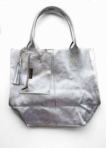 Metallic Leather Shopper with Pouch