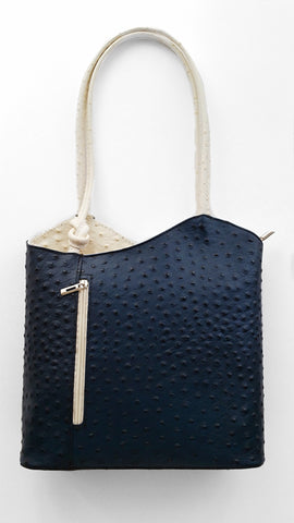 Leather Ostrich Effect Shoulder Handbag / Backpack