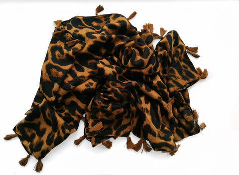 Cheetah Print Scarf with Tassels