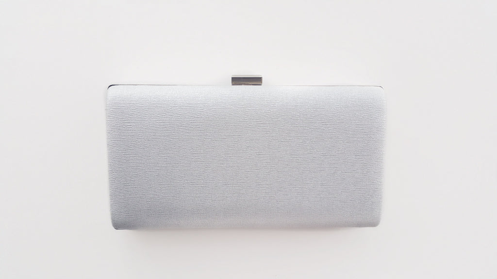 Silver Hard Case Clutch Bag