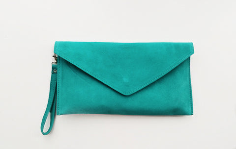 Italian Suede Leather Envelope Clutch Bag