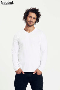 Mens Long Sleeve V Neck T-Shirt