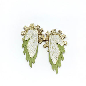 Leather Jewelry - Statement Earrings - Wings - Lime & Gold Sunburst