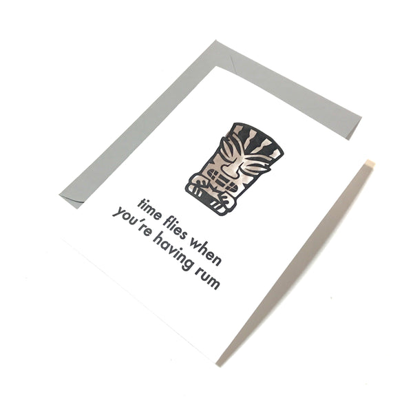 tiki cards - time flies when you're having rum
